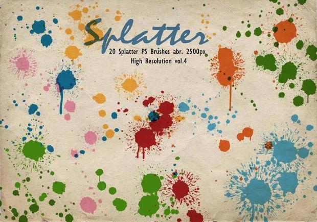 colorful paint splatter brushes