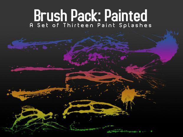 colorful paint splash brushes