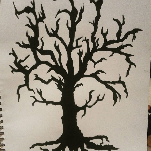 black dead tree drawing