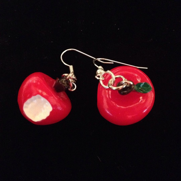 red color apple earrings