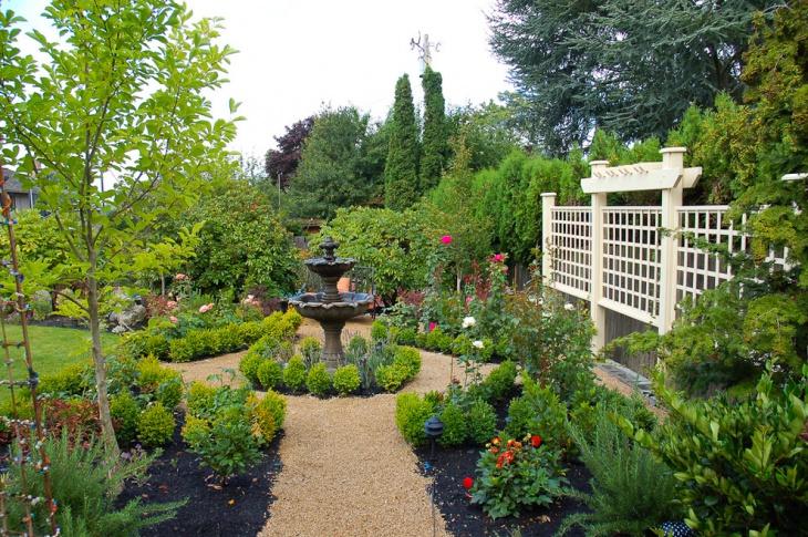 outdoor fountain garden design