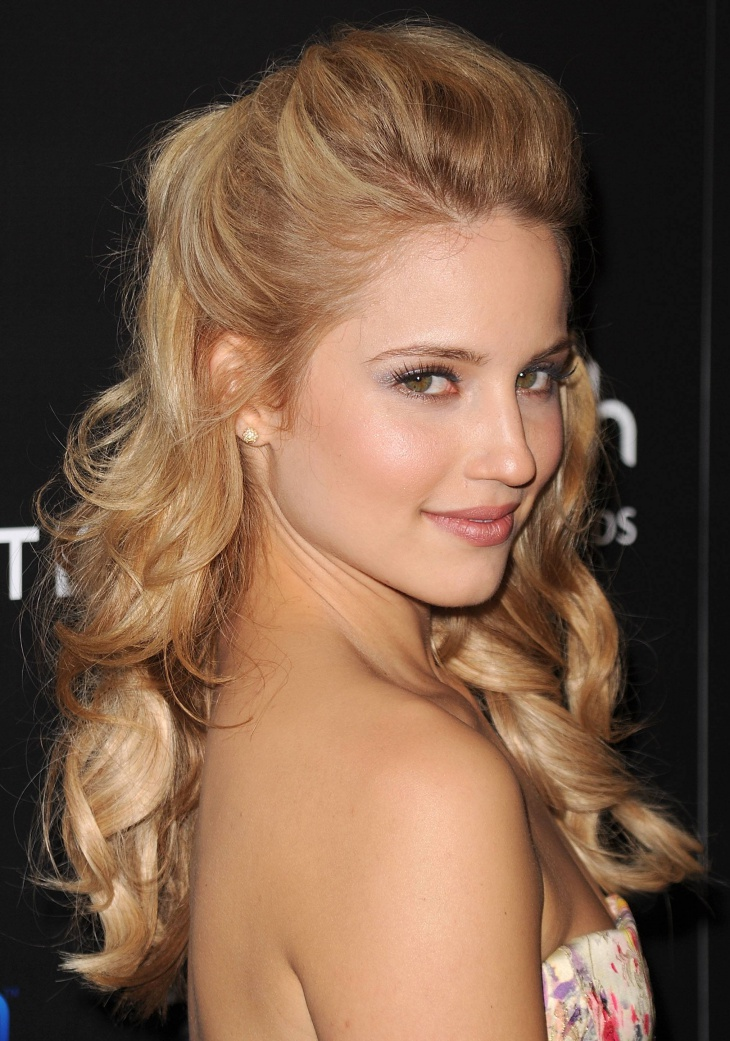 Dianna Agron Christmas Party Curly Hairstyle