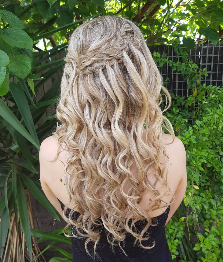 Christmas Long Waterfall Braid Hairstyle