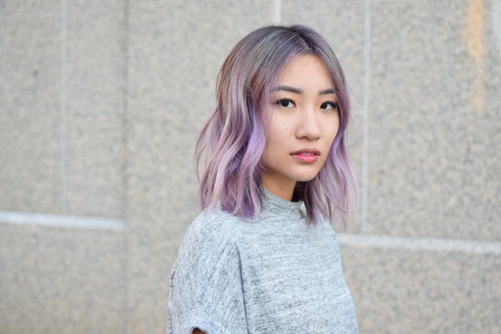 Shoulder Length Purple Christmas Hairstyle