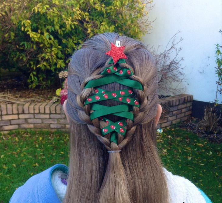 Christmas Tree Half Ponytail