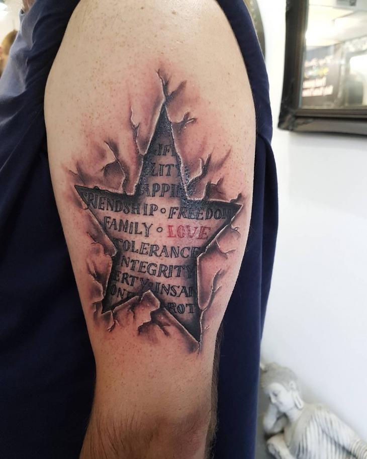 3d star arm tattoo