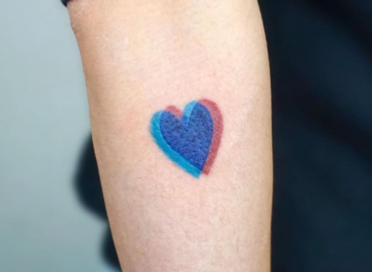 3d love heart tattoo