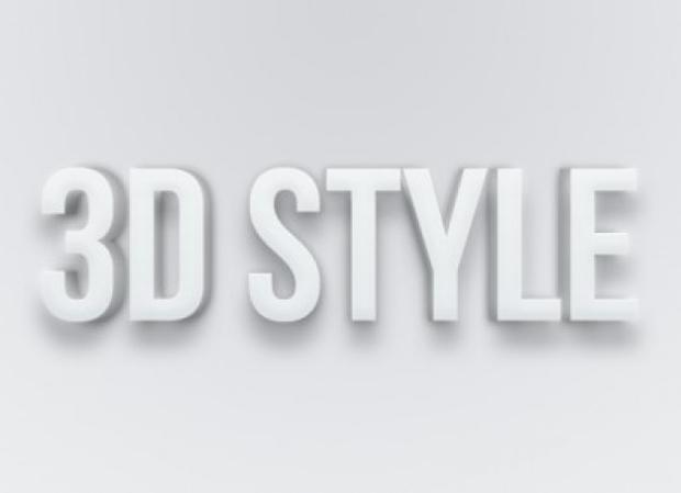 3D Photoshop Grey Text Style