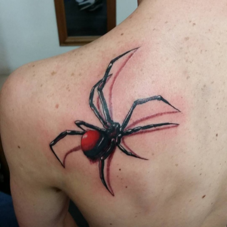 3d spider tattoo on shoulder