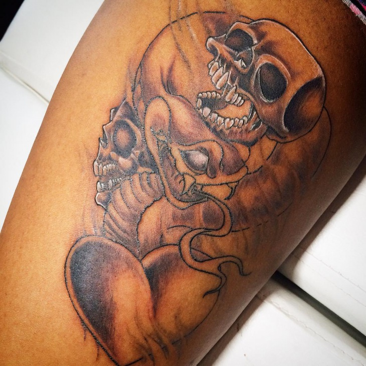 3d skull head tattoo