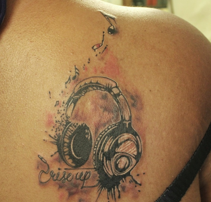 3d music headphone tattoo