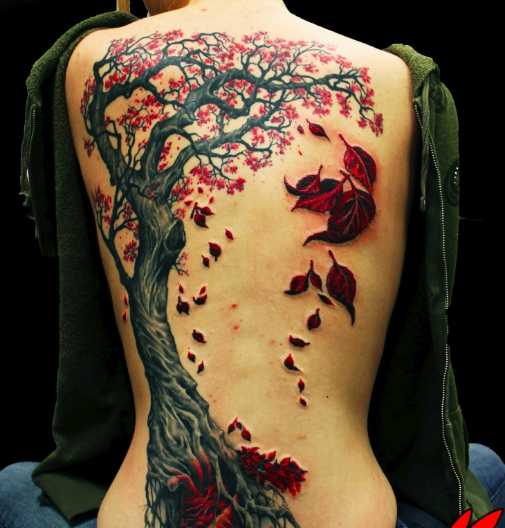 3d red tree tattoo