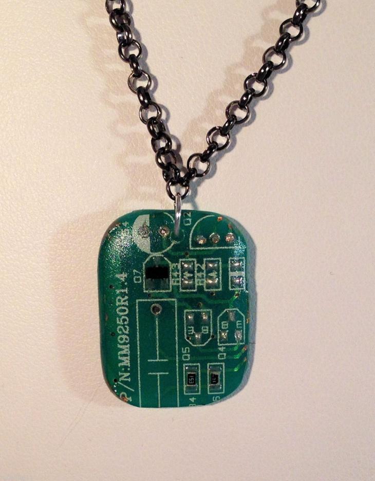 circuit board jewelry pendant