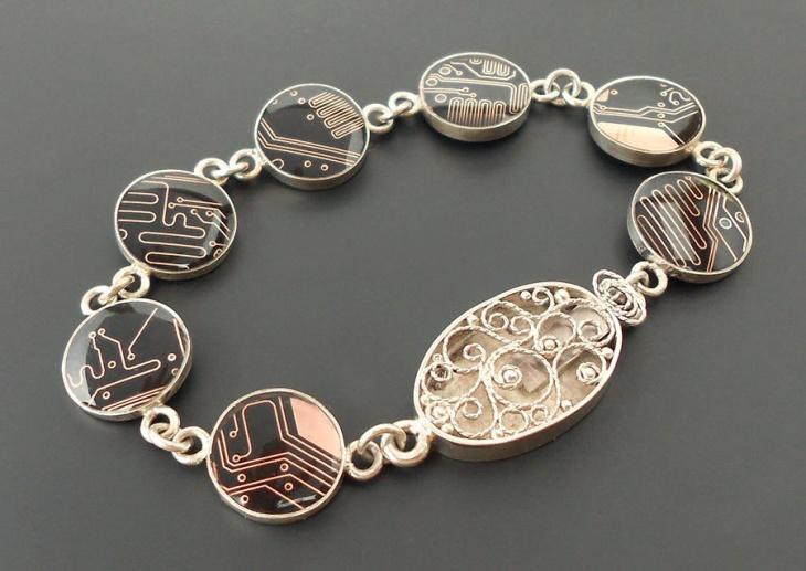 sterling circuit board bracelet