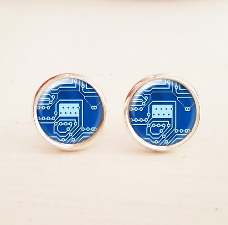 circuit board stud earrings