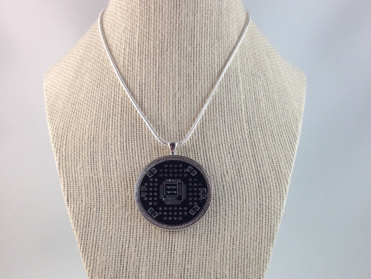 black and silver circuit board jewelry