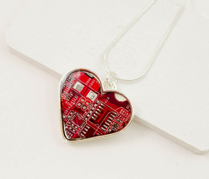 recycled circuit board heart necklace