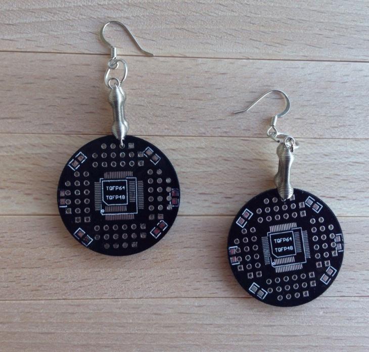 computer keys with circuit board earrings