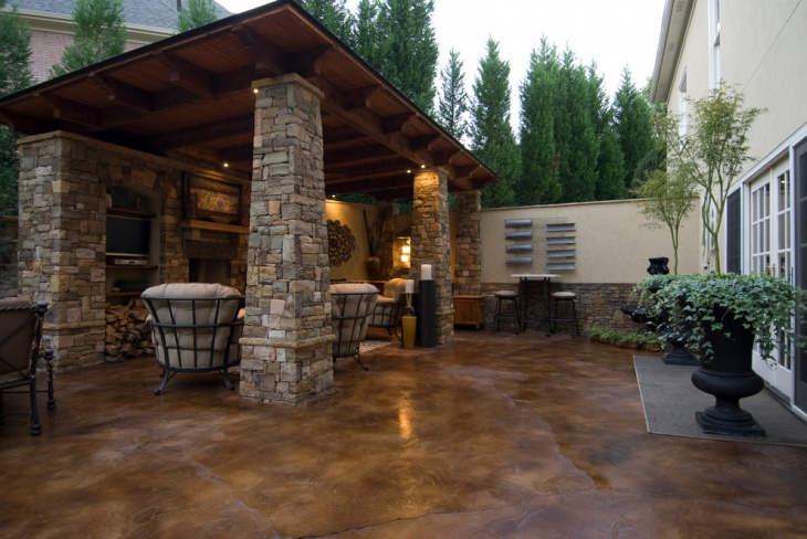 18+ Stained Concrete Patio Designs, Ideas | Design Trends ... on Backyard Masonry Ideas id=48218