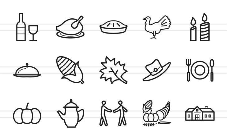 thanksgiving line icon set