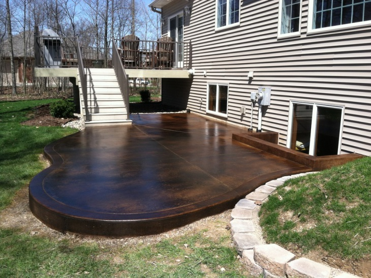 outdoor stained concrete patio