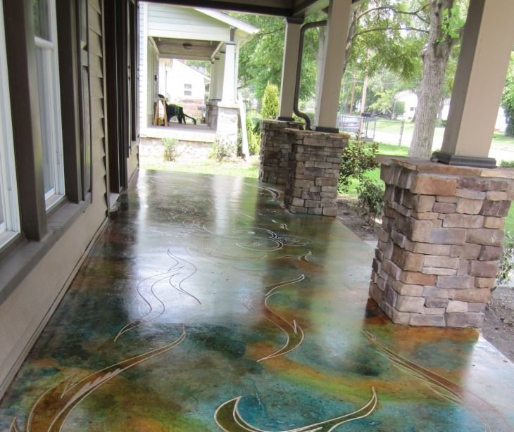 18 Stained Concrete Patio Designs Ideas Design Trends