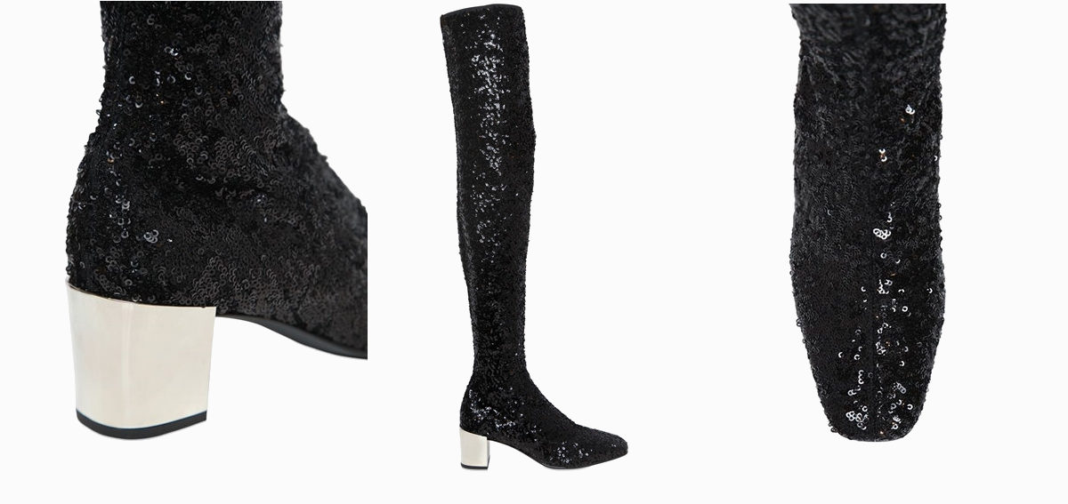 roger vivier sequin and embellished thigh boots