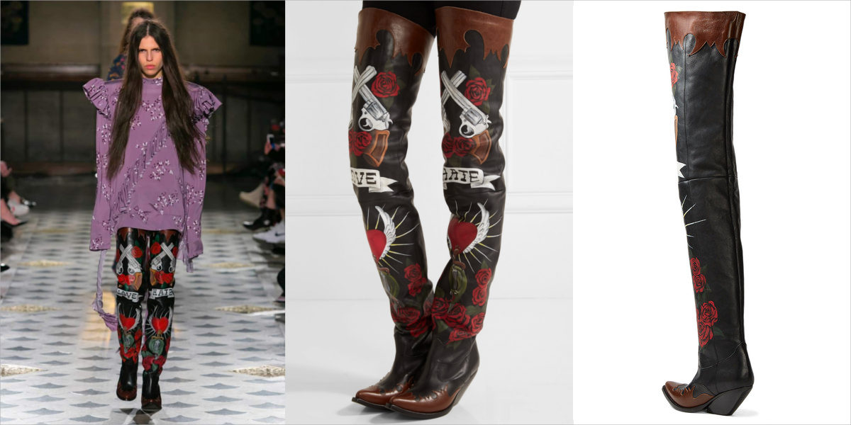 vetements cowboy style thigh high boots
