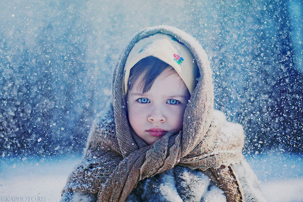 winter kid portrait photography