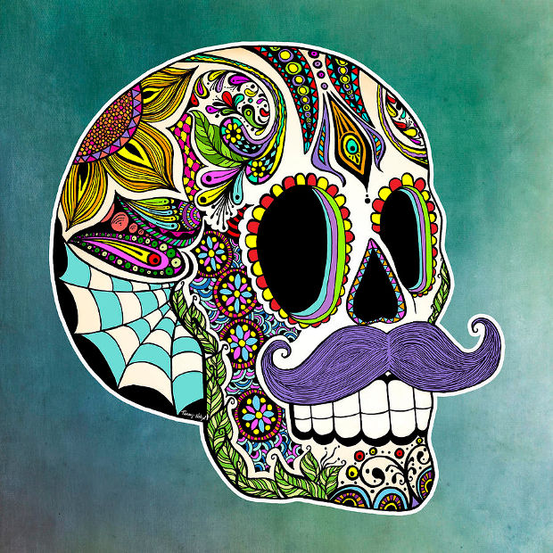 sugar skull colored pencil drawing