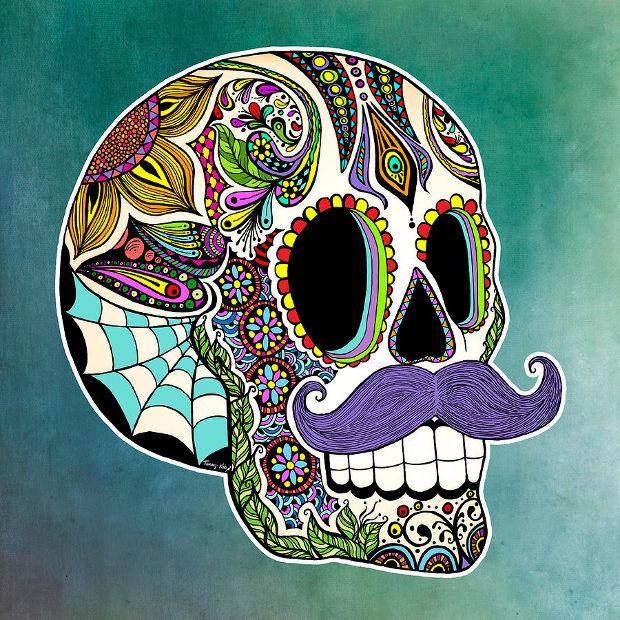 Sugar Skull Colored Pencil Drawing