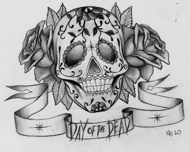 Sugar Skull with Roses Drawing