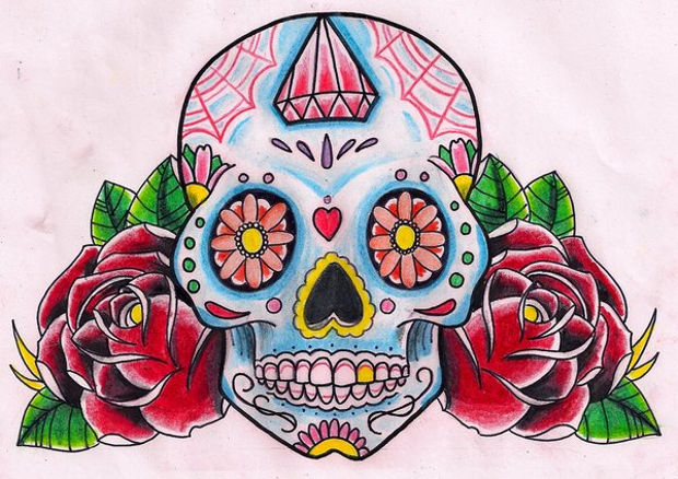 Sugar Skull with Red Roses Drawing