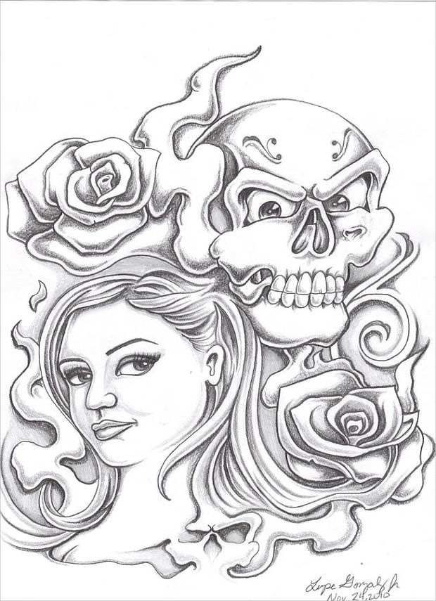 skull and girl with rose drawing