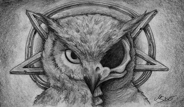 evil owl skull drawing