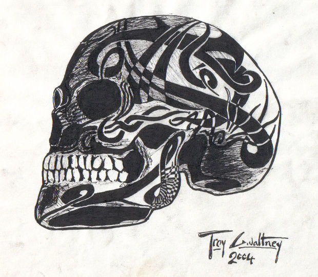 horror tribal skull drawing