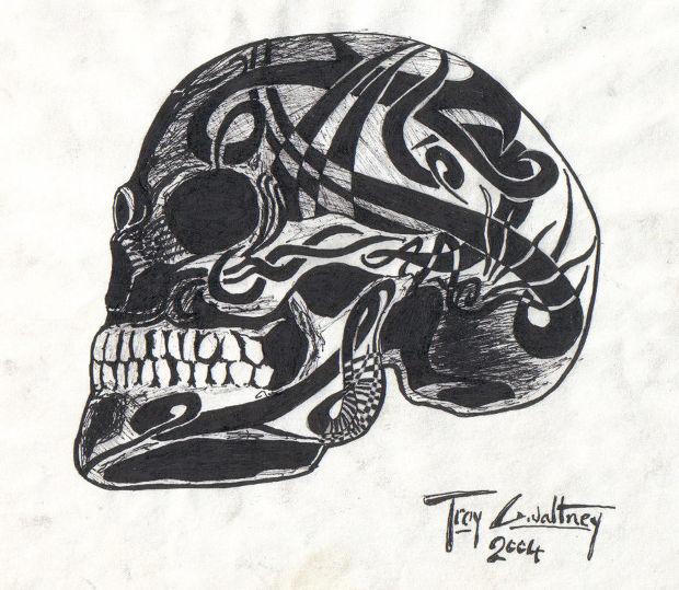 Horror Tribal Skull Drawing