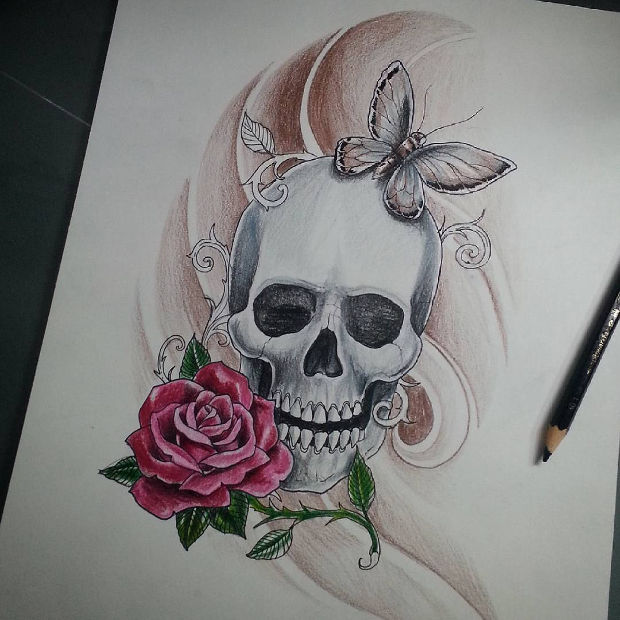 3d skull pencil drawing
