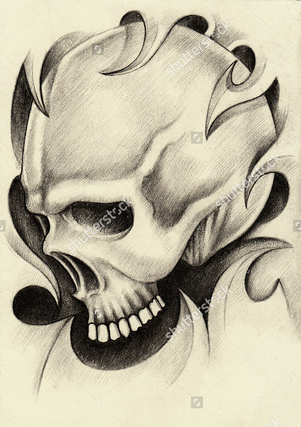 skull tattoo pencil drawing