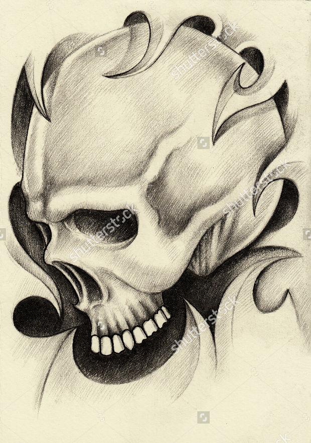 skull-tattoo-pencil-drawing