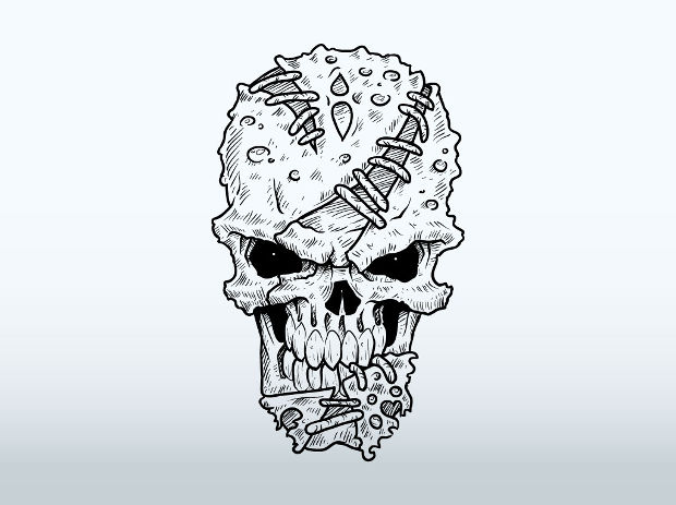 mutanat cartoon skull drawing