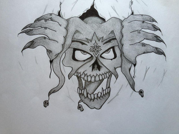 funny cartoon skull drawing