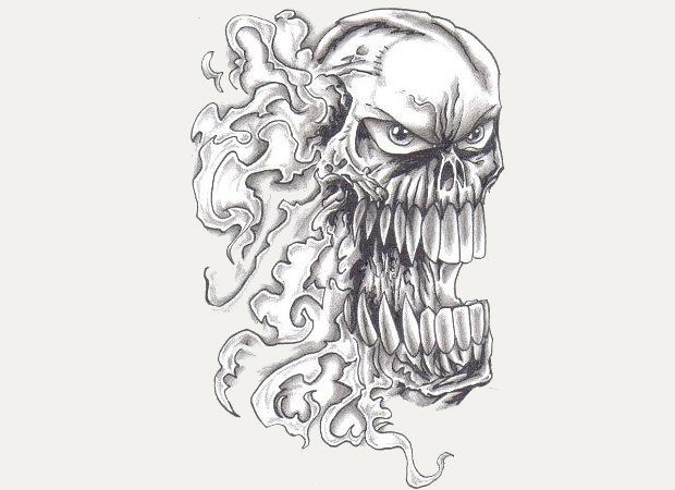 flaming skull pencil drawing