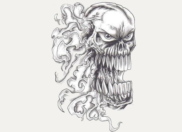 Flaming Skull Pencil Drawing