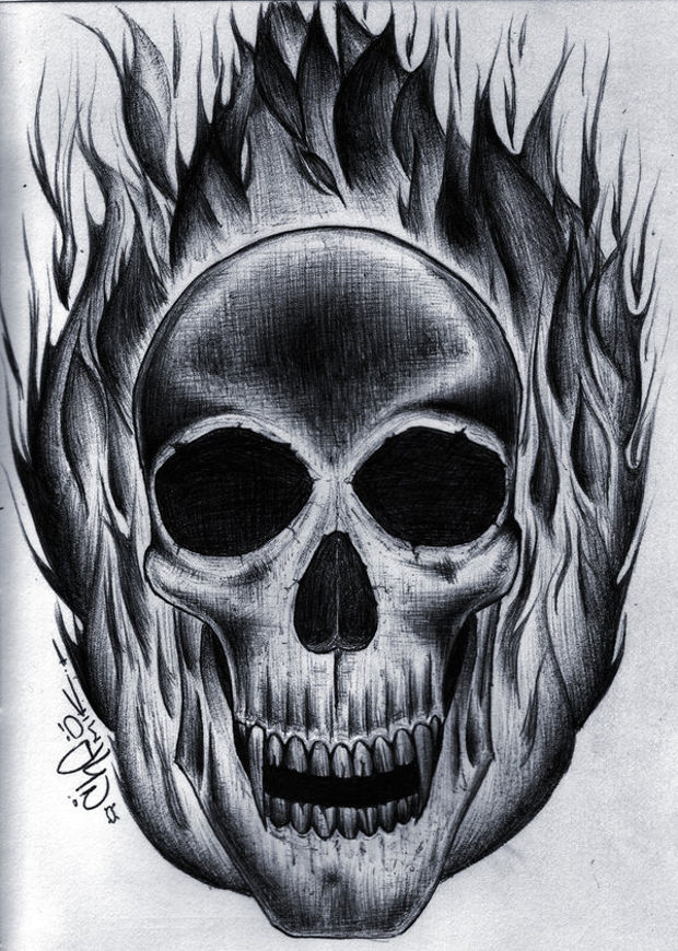 Fire Flaming Skull Drawing