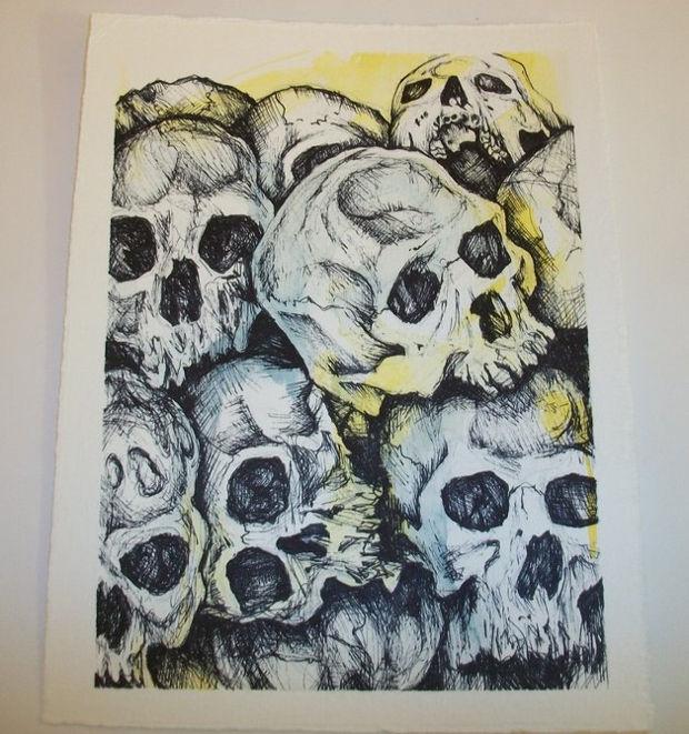 Cracked Skull Pen Drawing