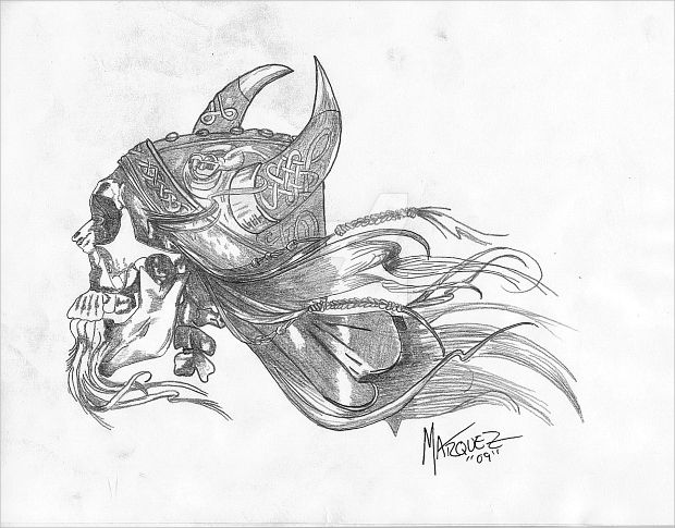 viking skull pencil drawing