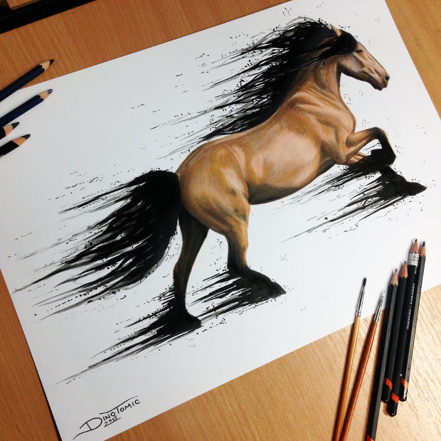 brown running horse drawing