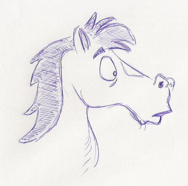 cartoon horse pen drawing
