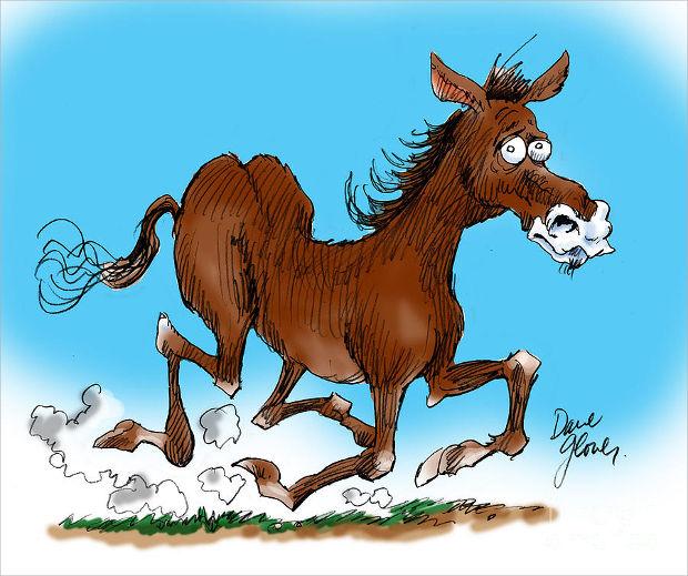 funny cartoon horse drawing